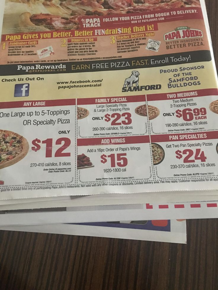 Papa Johns puts the number of calories per slice of pizza on their coupons