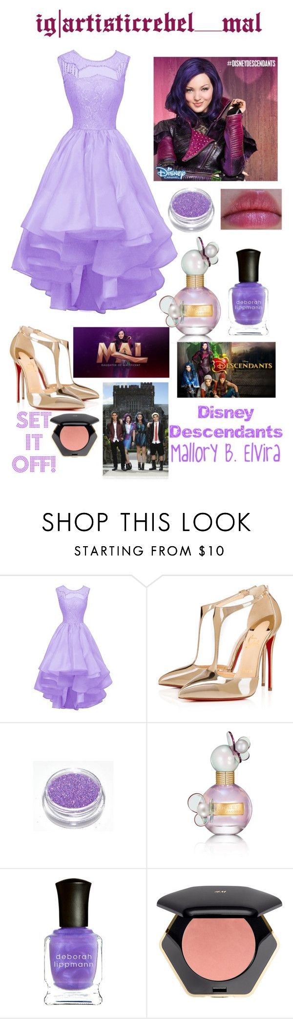 """Set It Off-Mal (Disney's Descendants)"" by fashionistamusiclover ❤ liked on Polyvore featuring Christian Louboutin, Marc Jacobs, Deborah Lippmann, Disney and H&M"