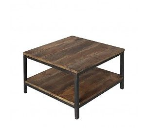 LEF collections Industrial brown metal black wood coffee table 60x60x46cm