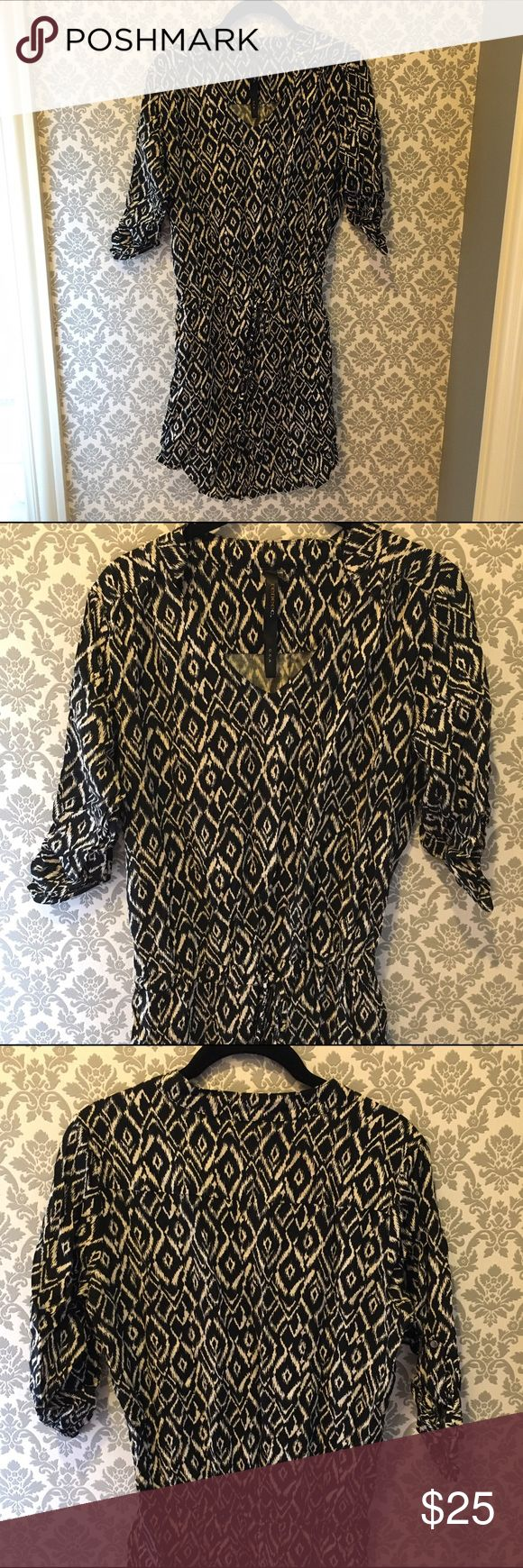 Drawstring waist, v-neck dress Drawstring waist, v-neck dress. Like new; worn once. Size is small but could fit medium as well. Dresses