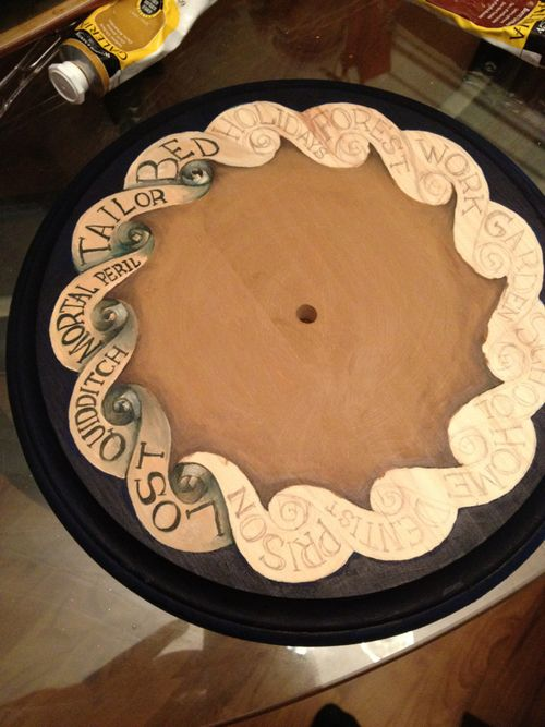 Hand painted Weasley Clock for Harry Potter Halloween Party in progress by Michelle Sheppard, 2012.