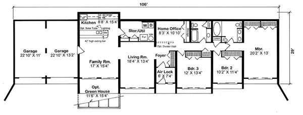 Earth Sheltered Home Floor Plans | First Floor Plan of Contemporary Earth Sheltered s Retro House Plan ...