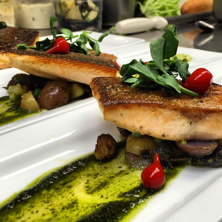 Arctic Char atop of potato and Brussel sprout salad finished with cilantro chutney.