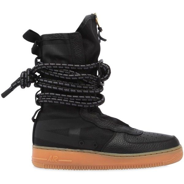 Nike Men Sf Air Force 1 Sneaker Boots ($260) ❤ liked on Polyvore featuring men's fashion, men's shoes, men's boots, black, mens black military boots, mens boots, mens black leather shoes, mens black leather boots and mens leather shoes