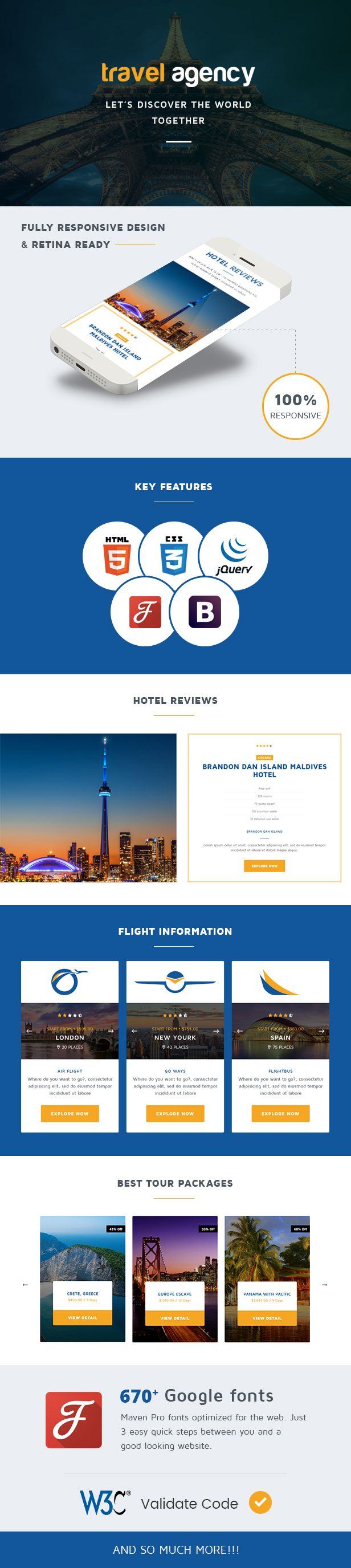 Travel Agency is one of the best travel & tour booking #Template. It's suitable for companies and agencies that provide hotel, car rental, flight, cruise and tour booking services. You will have tons of color skins, layout possibilities with unlimited variations and colors. Key features: - Future proof #HTML5 / #CSS3 code. - Fully #Responsive. - Scrolling #OnePage design. - #Parallax Content. Live Preview: http://travelagency.projectsmd.in/
