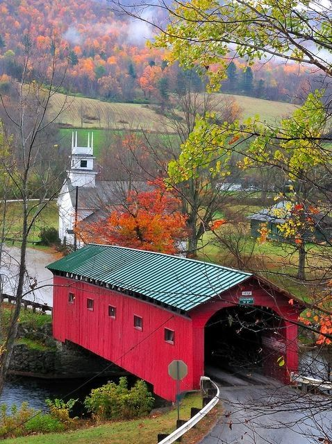 West Arlington, Vermont.  You don't see a lot of covered bridges anymore :\