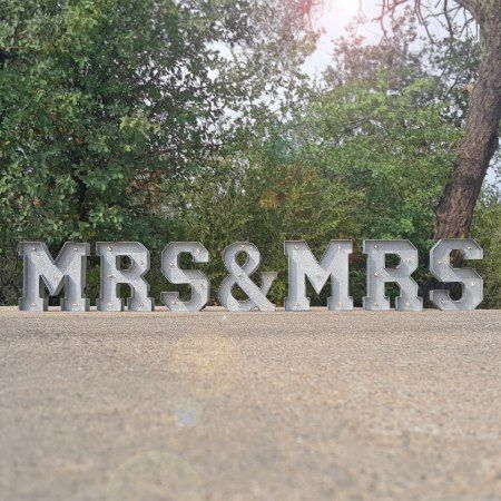 9' tall - MRS & MRS - Metal Marquee Sign Lights - tap to personalize and get yours