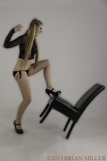 Model vs. Chair  ©2013 Brian Miller  Model: Amanda Harris  Chair: nolo contendere