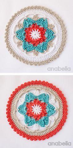 Daffodil crochet coasters, PDF pattern