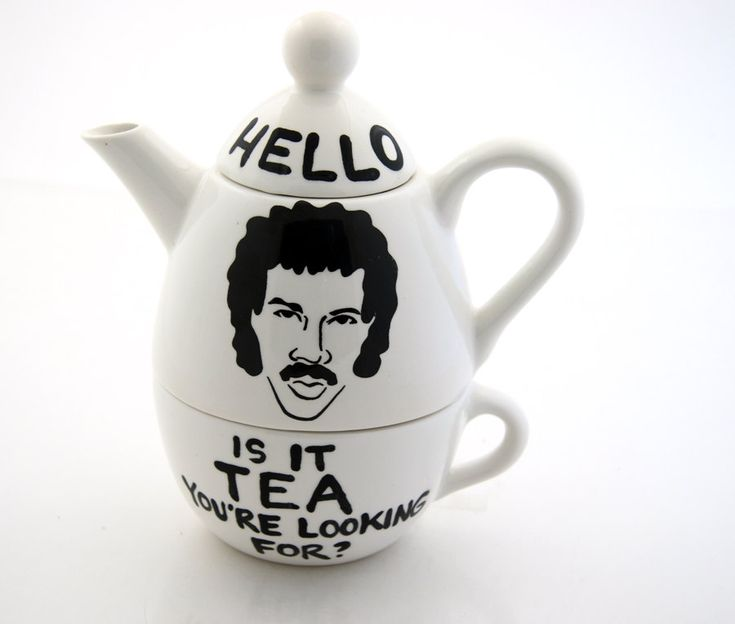 Best Teapot Ever ... Hello Lionel Richie Ritchie Teapot Tea For One by LennyMud on Etsy. $36.00, via Etsy.
