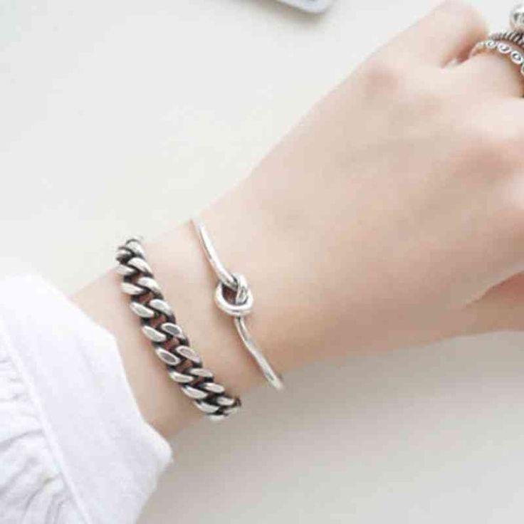 Ing frauen 925 sterling silber armbänder armreifen knoten trendy schmuck zubehör …   – Products