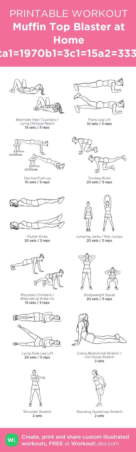 My personal ABS workout! Muffin Top Blaster at Home Workouta1=1970b1=3c1=15a2=3338b2=3c2 – my custom workout created at WorkoutLabs.com • Click through to download as printable PDF! #customworkout: