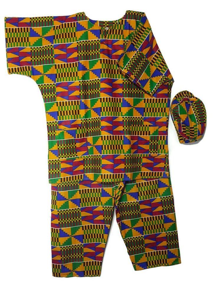 African Dashiki Men's Pant Set Ethnic 3PCs Pant Suit Kente4 Gold Outfit PlusSize #Handmade #TraditionalPantSuit