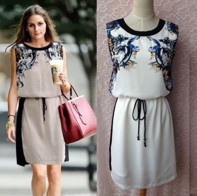 Hotsale! Fashion zara2014 dress Women Brand summer wholesale factory print strap slim waist plus size casual dress bodycon dress $29.90