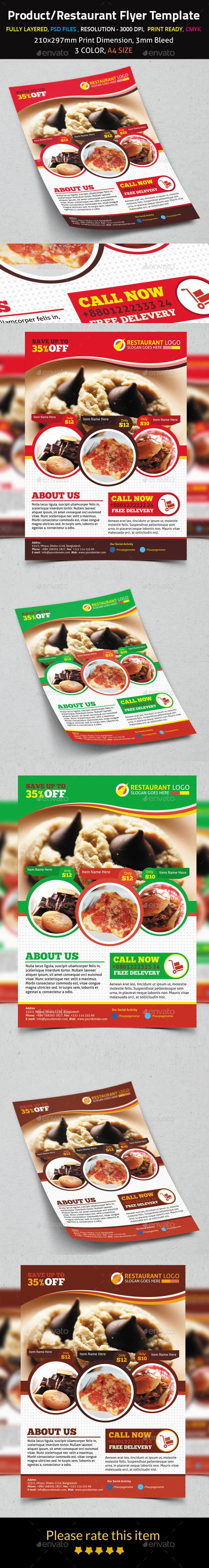 Product/Restaurant Flyer Template #design Download: http://graphicriver.net/item/-productrestaurant-flyer-template/8998348?ref=ksioks