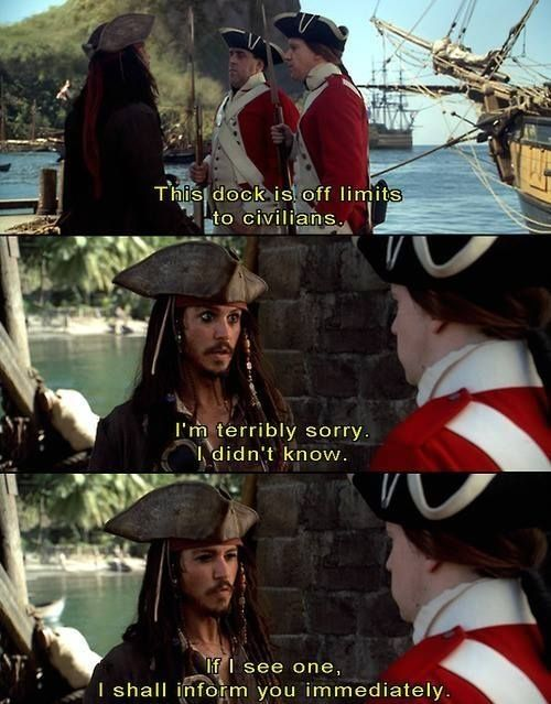 Pirates of the Caribbean: The Curse of the Black Pearl...good one!  Never see it but this was so funny I could no resist!