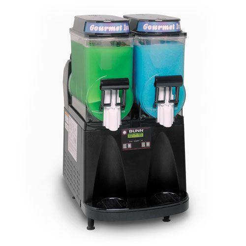 The Bunn Ultra 2 Slushie machine is big enough for the even the most popular folks who love to entertain at home and even for light commercial use. That's because it can serve up 48 16-ounce icy drinks in two different flavors with its double-hopper design.