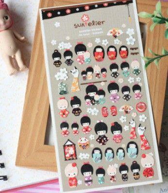 Free Shipping/New DIY Multifunction Japan Doll Girl paper sticker/Korea decoration children stickers/Wholesale