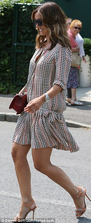 Summer style: Louise Redknapp at Wimbeldon - love the floaty, light dress paired with the nude stilettos.