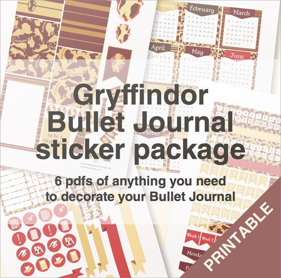 Gryffondor balle journal autocollants paquet A4 par BumbleBeasy