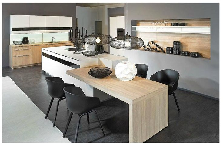 Technodesign alno cuisines lot central bois design for Ilot central avec coin repas integre