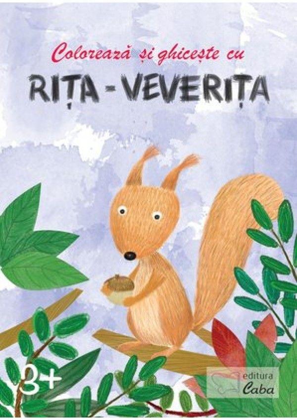 Coloreaza si ghiceste cu Rita Veverita pentru 3 ani +. Descoperirea animalelor si a plantelor prin ghicitori, alaturi de Rita Veverita este foarte distractiva! Desenele frumos realizate le vor crea copiilor o imagine clara si corecta asupra celor reprezentate. Fiecare fisa contine cate un desen si o ghicitoare aferenta acestuia.