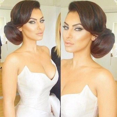 Bun is a little big but love this classic beauty style - especially the fringe #sideUpdos
