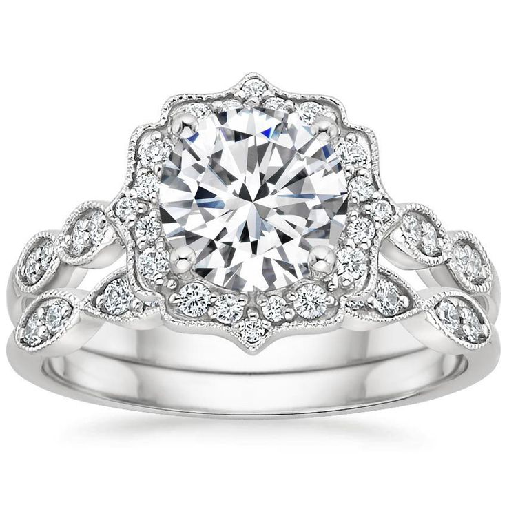 This is the one! Platinum Cadenza Halo Diamond Matched Set (1/3 ct. tw.) from Brilliant Earth