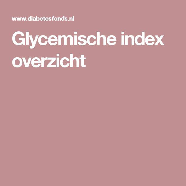 Glycemische index overzicht