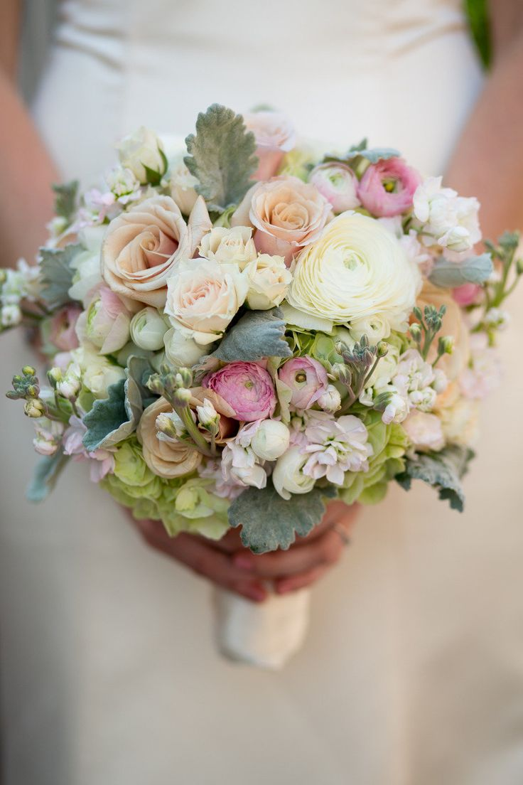 Antique Garden Roses, Roses, Peonies, Stock, Hydrangeas & Dusty Miller. Busy bouquet but very lovely