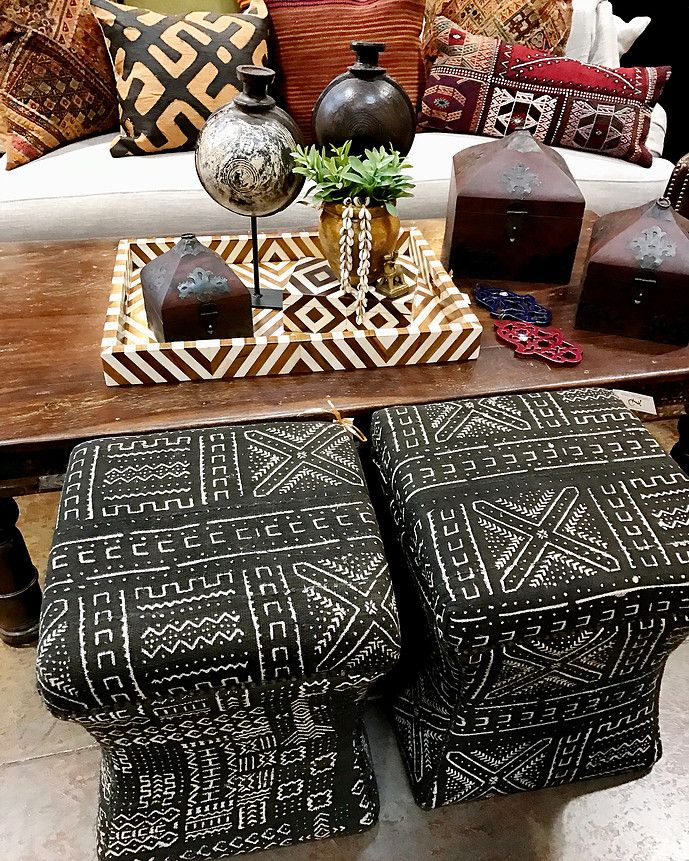 Mali Mudcloth Stools   Graphic Bone Inlay Tray   Layers Of Ethnic Textile  Pillows Tierra Del Lagarto   Scottsdale Furniture Store