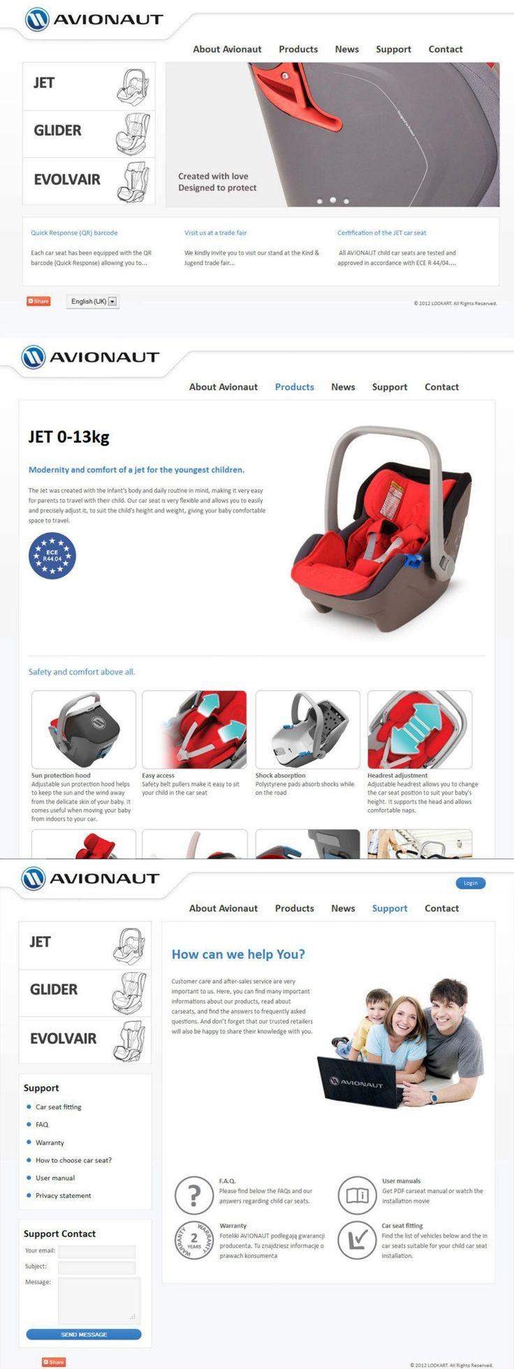 Strona internetowa polskiego producenta fotelików samochodowych AVIONAUT