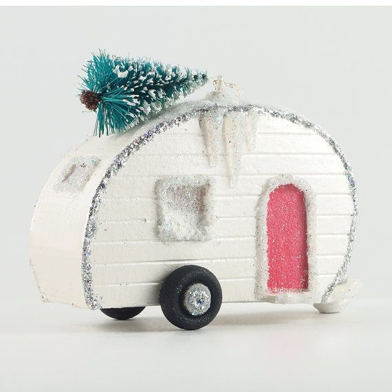 Christmas Village Glitter House Putz Ornament by 320Sycamore