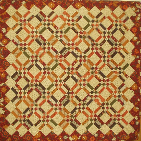 Autumn Stix and Stones Wall Hanging Quilt by QuiltsClothsCovers, $125.00