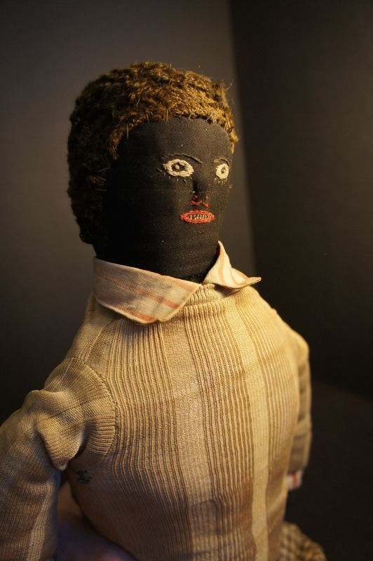 """18"""" black boy doll with very fine embroidered face C. 1880 antique"""