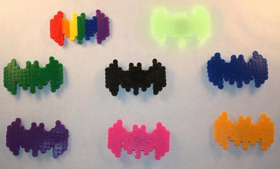 Batman Batarang Comic Perler Bead Magnets by Piratekiki on Etsy, $2.00