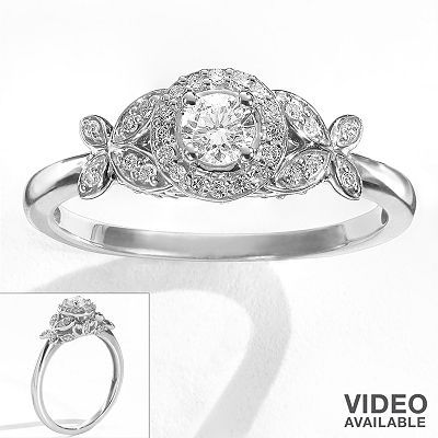 simply vera vera wang flower halo engagement ring