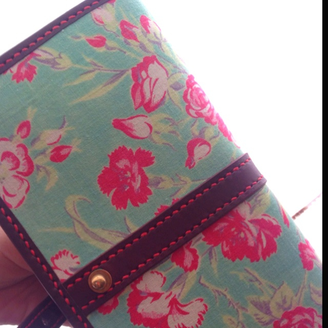 antique cloth and leather wallet. made by Tochca