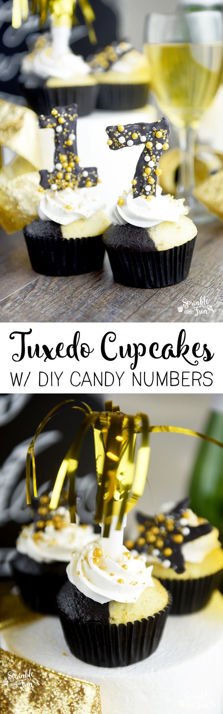 These Tuxedo Cupcakes with Candy Numbers are the perfect cupcakes to have at a New Years Eve party.   via @sprinklesomefun