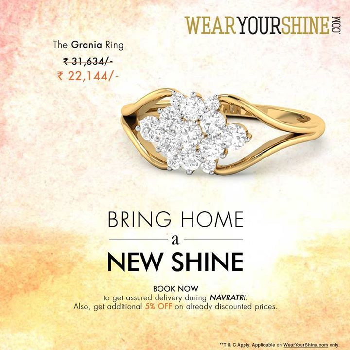 """""""WYS Navratri Special : Book """"""""The Grania Diamond Ring"""""""" and Avail 25% + Additional 5% off on the same. Get going now! Book now : http://goo.gl/glzC9S  #WearYourShine #Love #PCJeweller #Shine #Diamonds #Jewellery #Gold #Gemstones #Rings #IndianJewellery #Jewelry #women #Fashion #Trends #like #cute #New #Me"""""""