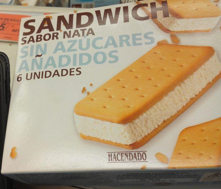 Sandwich sabor Nata sin azúcares añadidos Hacendado (Mercadona) - 1 unidad 2,5 puntos.