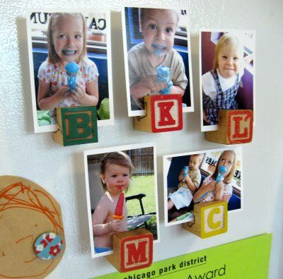 Guide on how to reuse alphabet blocks and make them into magnets from plumpudding. Cute way to show off the little ones in the family or their artwork on the fridge.