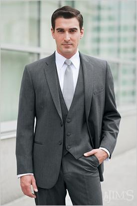 non-shiny/non-shimmery vest. Dark blue tie. Casual, but nice :)