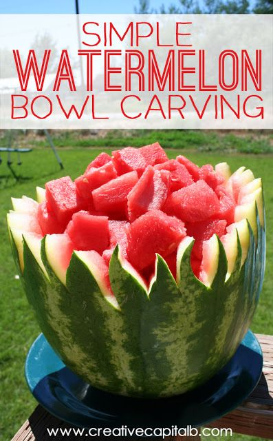 Simple Watermelon Bowl Carving... for real, anyone can do ...