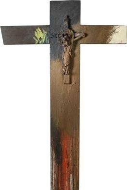 Arnulf Rainer, Cross (with body of Christ), Made of oil