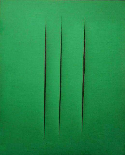 Lucio Fontana, Concetto Spaziale, Attese, 1967 | green monochrome minimalist art