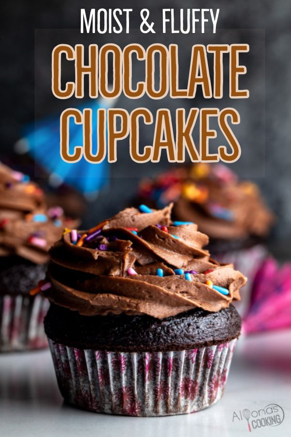 EASY Chocolate Cupcakes with Best Frosting!- The BEST chocolate cupcake recipe because they're made in one bowl and turn out super moist, light and fluffy! Made from simple ingredients and no buttermilk needed! Moist Cupcake Recipes, Easy Chocolate Cupcake Recipe, Homemade Cupcake Recipes, Best Chocolate Cupcakes, Chocolate Recipes, Baking Recipes, Dessert Recipes, Desserts, Simple Cupcake Recipe