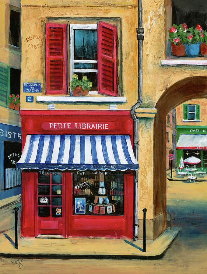 Little French Book Store Painting by Marilyn Dunlap