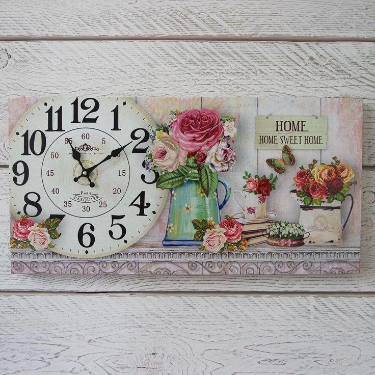 Reloj De Pared Shabby Chic De Madera Hogar Dulce Hogar En Caja Vintage Floral Impresión de lona | Home, Furniture & DIY, Clocks, Wall Clocks | eBay!