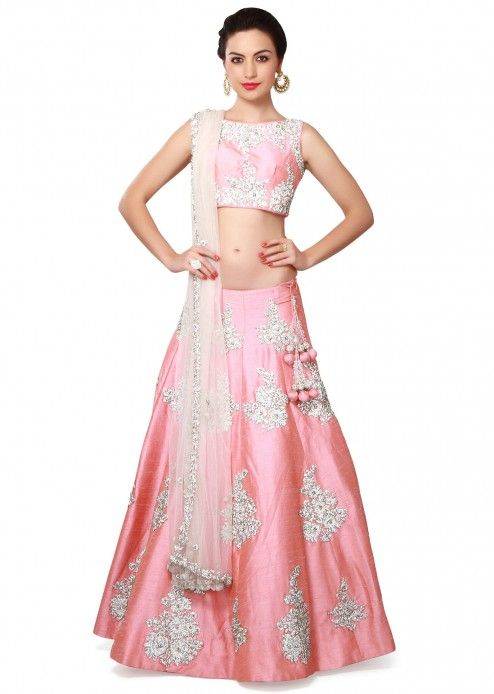 Pink lehenga in stone and kundan butti only on Kalki